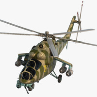 Russian Large Helicopter Gunship Mi-35M Rigged 3D Model