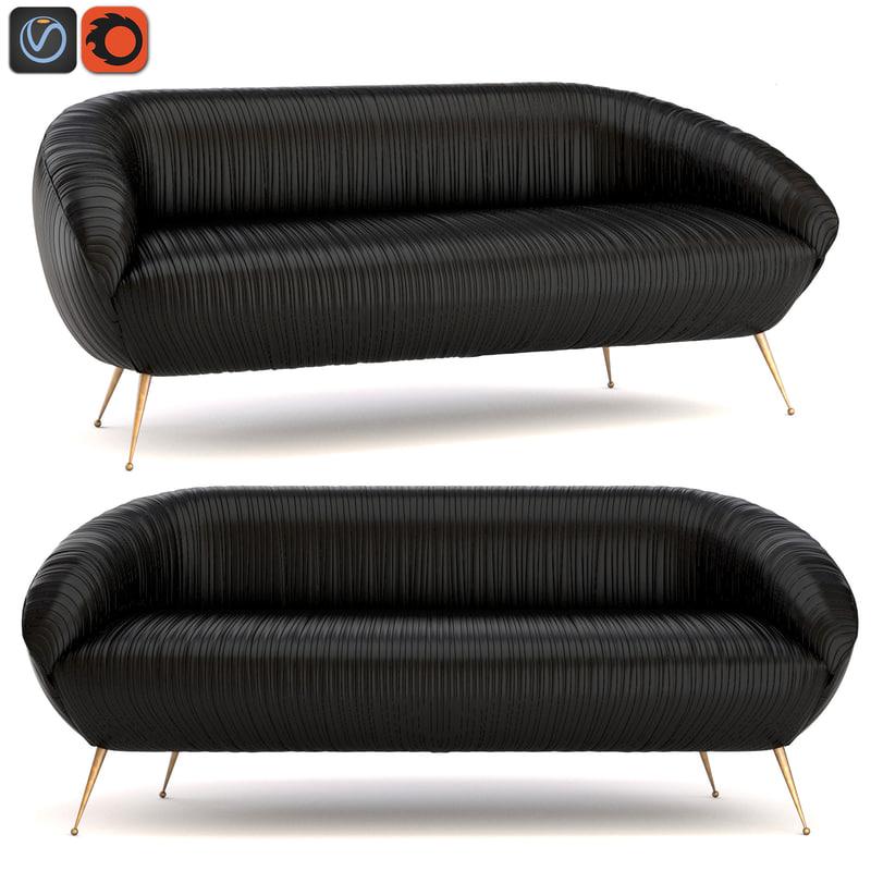 kelly souffle settee leather 3d obj