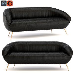 kelly souffle settee leather 3d obj