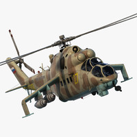 Russian Attack Helicopter Mil Mi-24B Hind Rigged