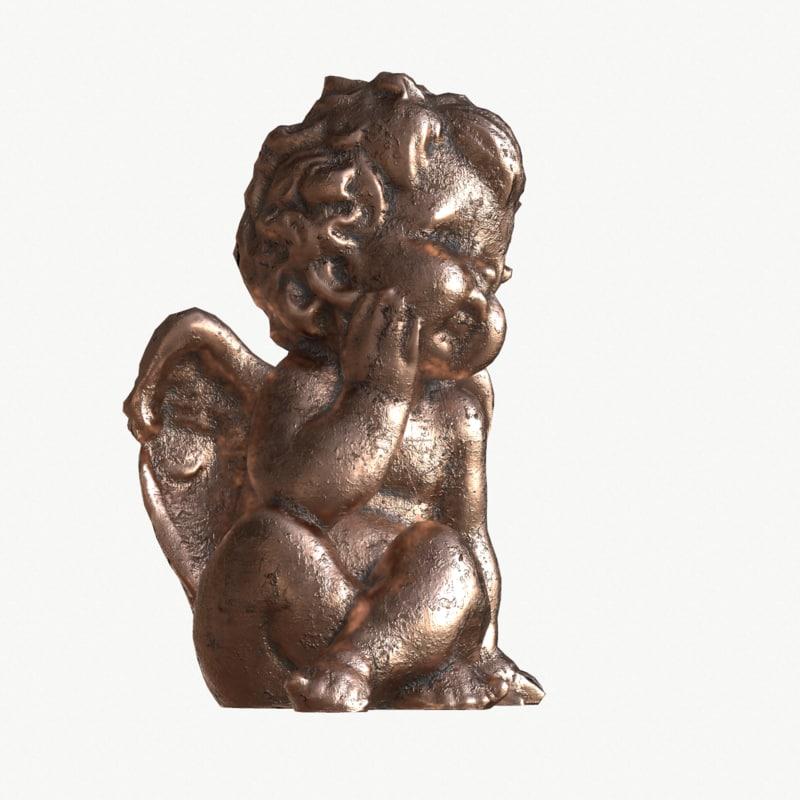 3d model old bronze statuette