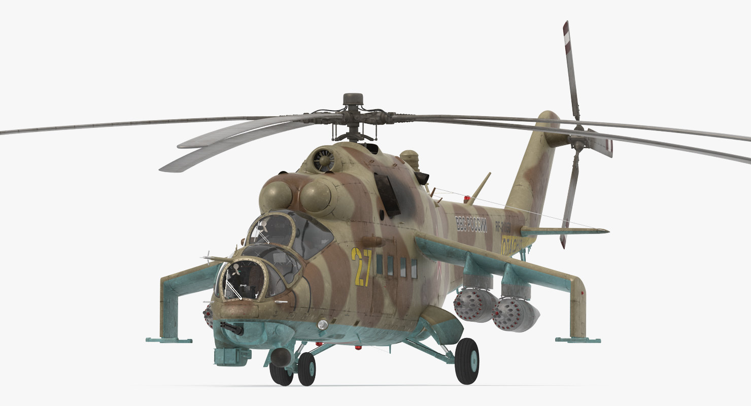 russian attack helicopter mil 3d model