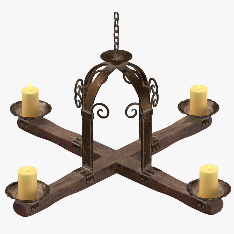 3d model of medieval candle chandeliers