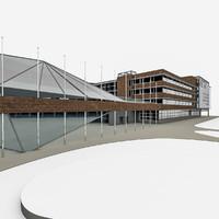 university campus 3d model