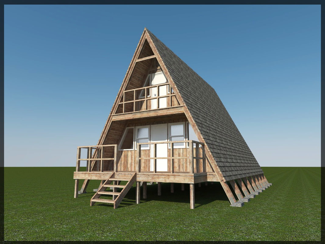 3d model 24 a frame cabin for A frame house blueprints