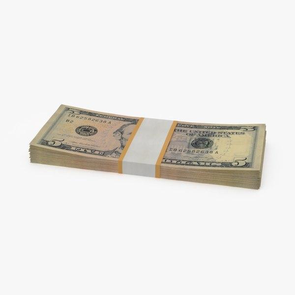 3d 5 dollar bill pack model