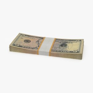 3d 5 dollar bill pack model