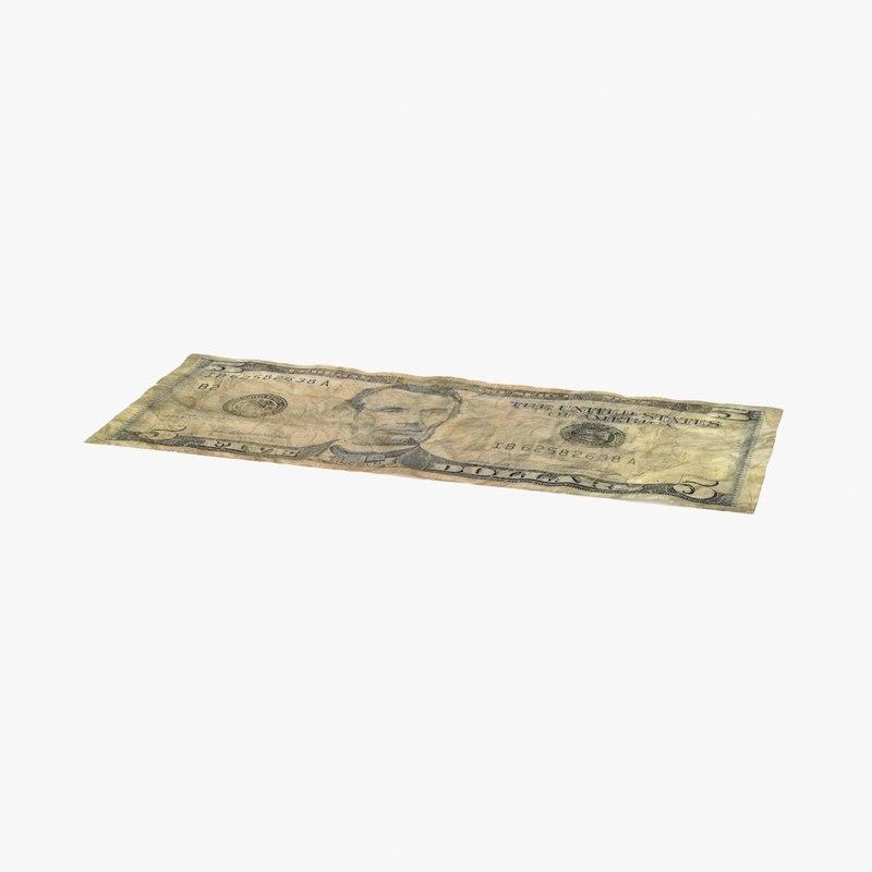 5 dollar bill distressed 3d max