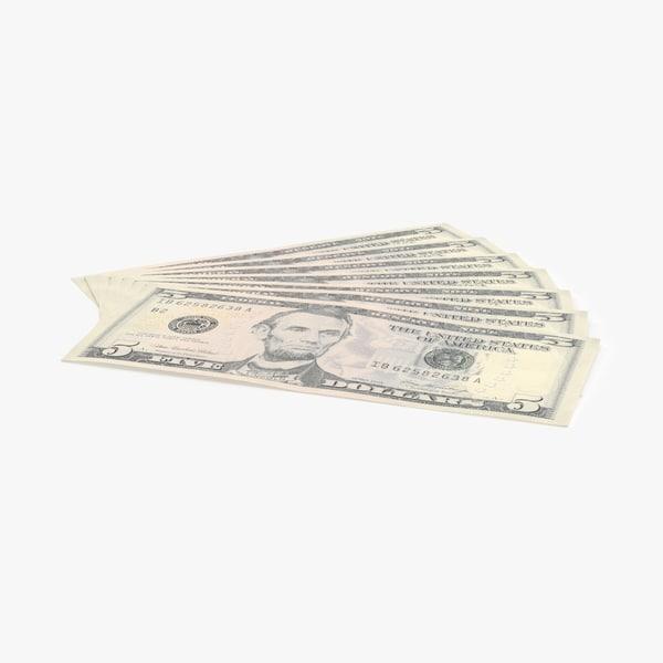 3d model of 5 dollar bill fanned