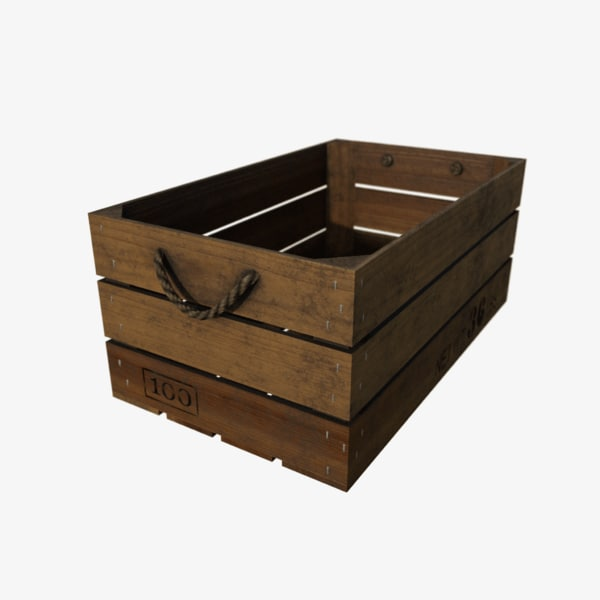 3d wooden crate wood