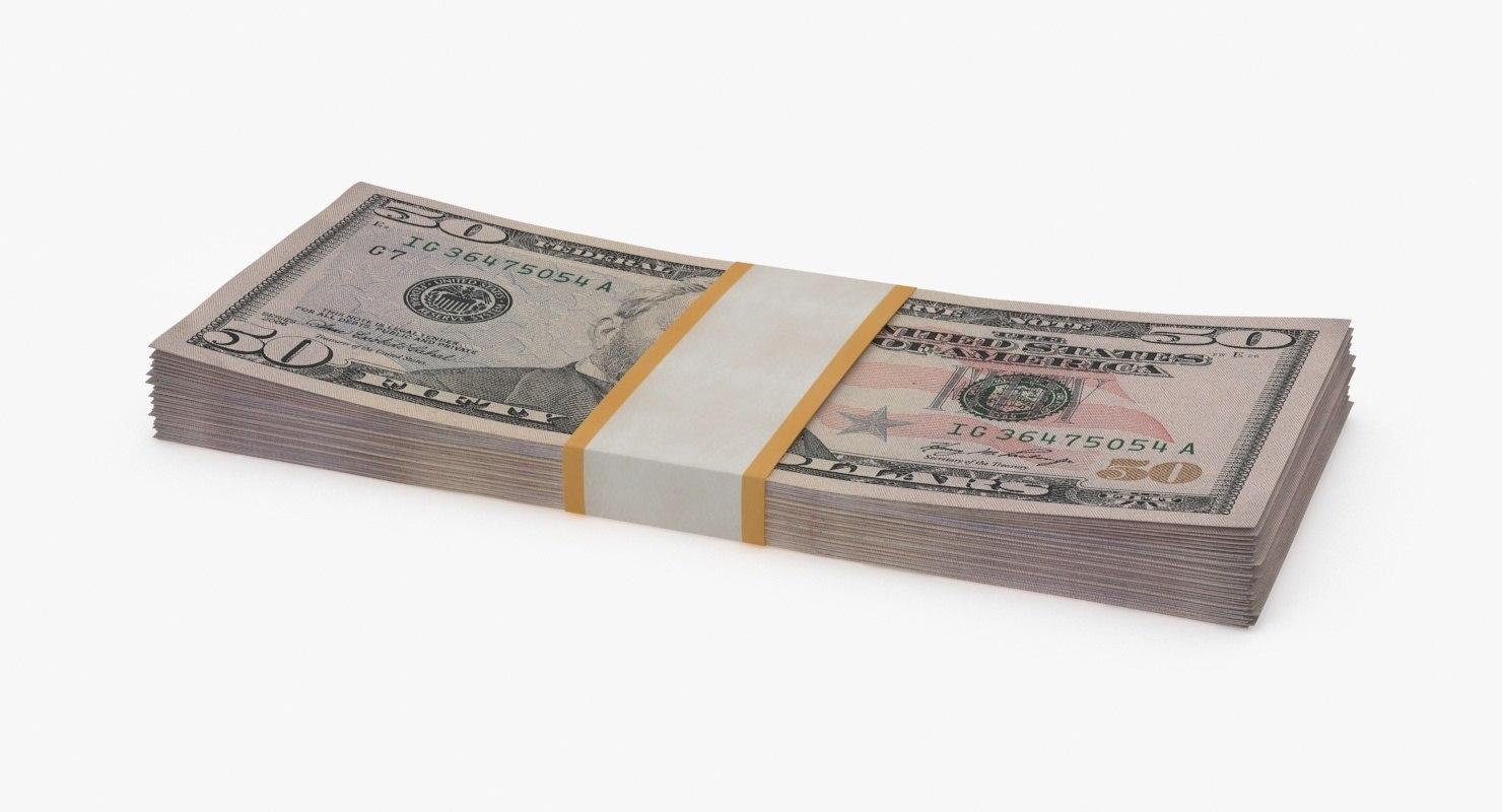 3d 50 dollar bill pack