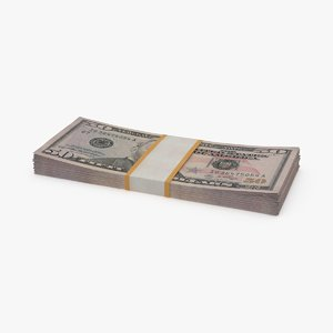 3d 50 dollar bill pack