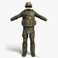 3d model qualitative soldier cloth set