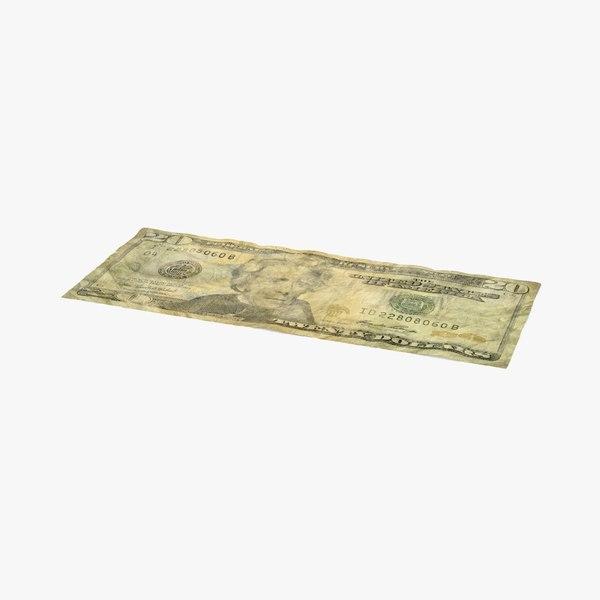 20 dollar bill distressed 3d max