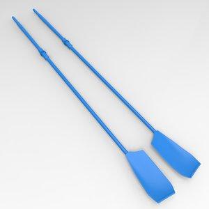 3d model professional rowing oars