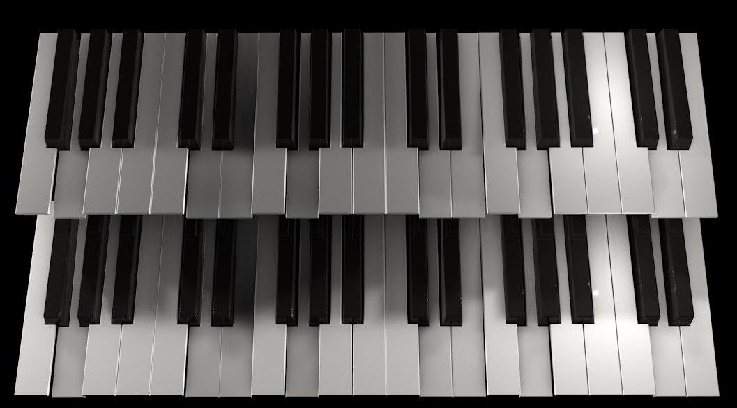 3d model octave keys keyboards