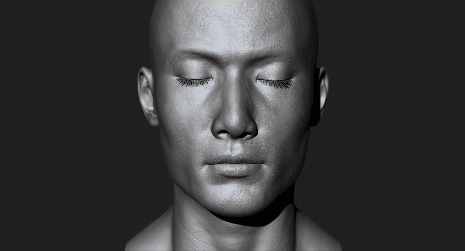 3d model asian male head production