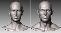 Realistic White Male and Female Head Bundle