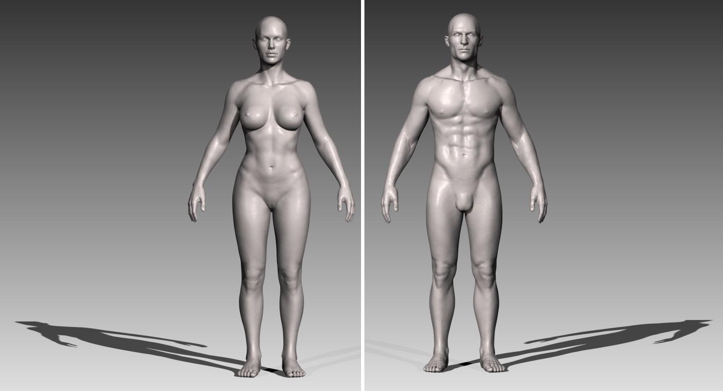 3d realistic white male female