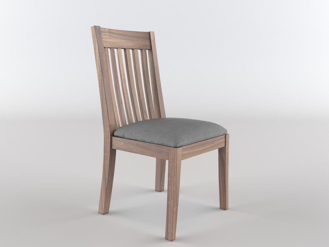 3d walnut chair classic model