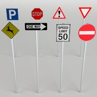 traffic signs pack 3d model