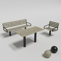 3d model of botan table sofa chair