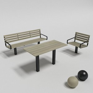 3d model of botan table sofa chair