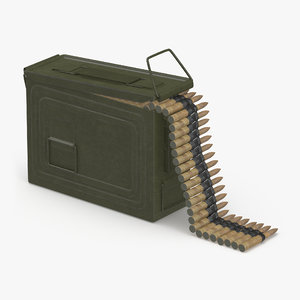 3d model machine gun ammunition box