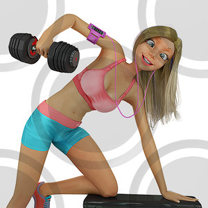 Woman doing tricep kickbacks B stock illustration