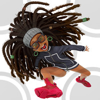 Urban cartoon woman running in puma sneakers