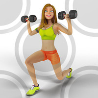 Woman doing dumbell lunge 3
