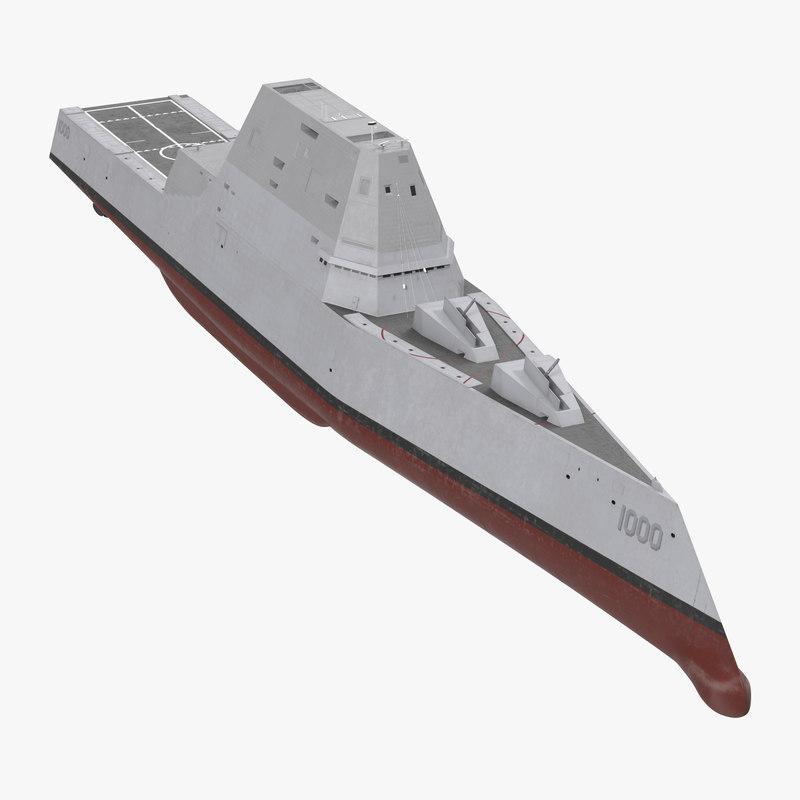 3d model zumwalt class destroyer stealth ship