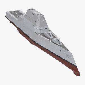 3d model zumwalt class destroyer stealth ship