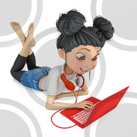 Girl lying on floor with laptop 2D