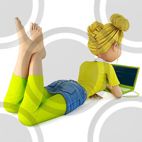 Girl lying on floor with laptop F