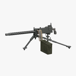 m1919 browning 30cal machine gun 3d 3ds