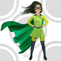 Super hero woman in green and black costume