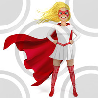 Super hero woman in red and yellow costume