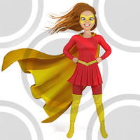 Super hero woman in red and yellow costume (2)(2)