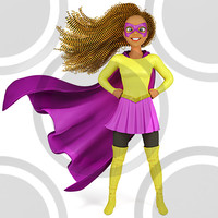 Super hero woman in yellow and purple costume