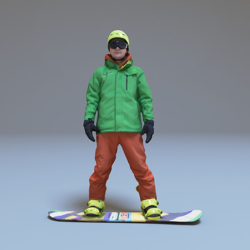 3d model snowboarder people human