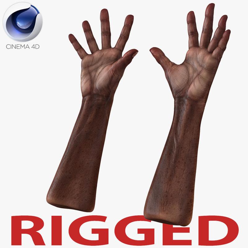 old african man hands 3d c4d