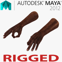 3d old african man hands model