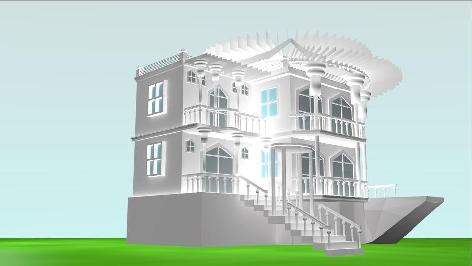 3d luxury duplex house white