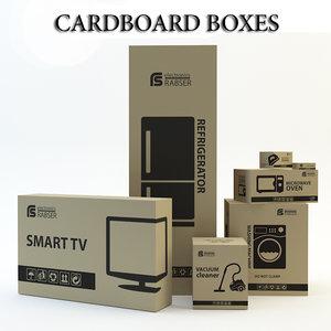 3d cardboard boxes model