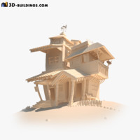 3d funny cartoon houses