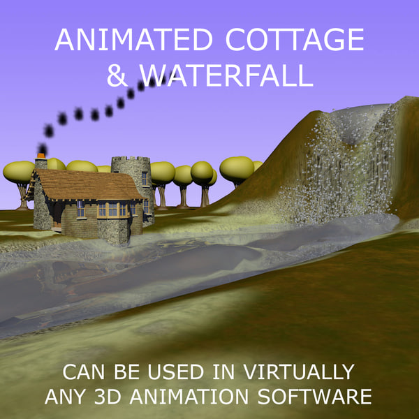 3d c4d cottage scene animations