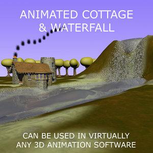 3d c4d cottage scene animations