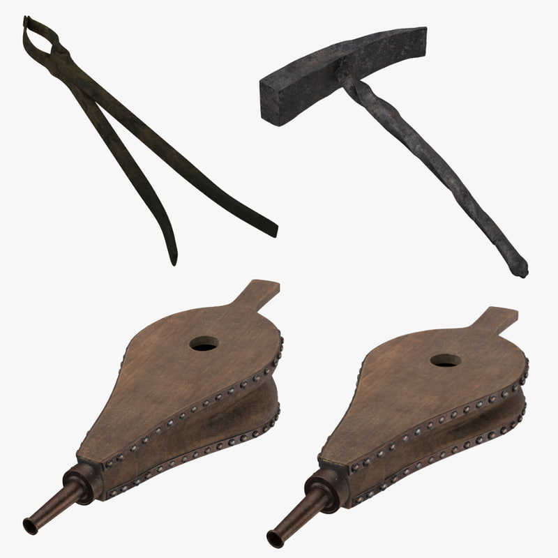 3d model blacksmith - hammer bellows