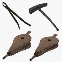 Blacksmith Tools 02 - Tongs Hammer and Bellows ( Open and Closed )